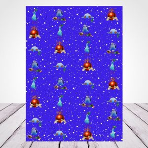 Wrapping Paper -blue seagull Christmas design